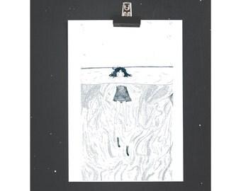 Sulking Underwater - A4 Print