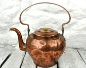 1/2 Price Summer Sale Huge French Antique Solid Copper & Brass Tea Kettle Country Kitchen Rustic Primative