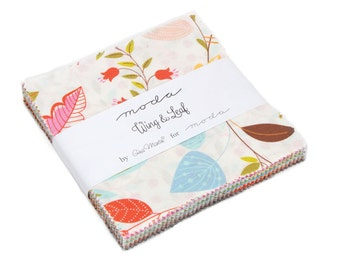 Wing and Leaf charm pack 5 inch fabric squares for Moda Fabric by Gina Martin