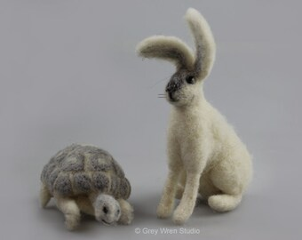 The Hare and the Tortoise - Handmade Pure Wool Characters