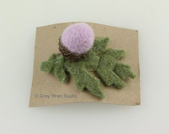 1 Felted Acorns and Oak Leaf Brooch/Hairslide - Pale Lavender