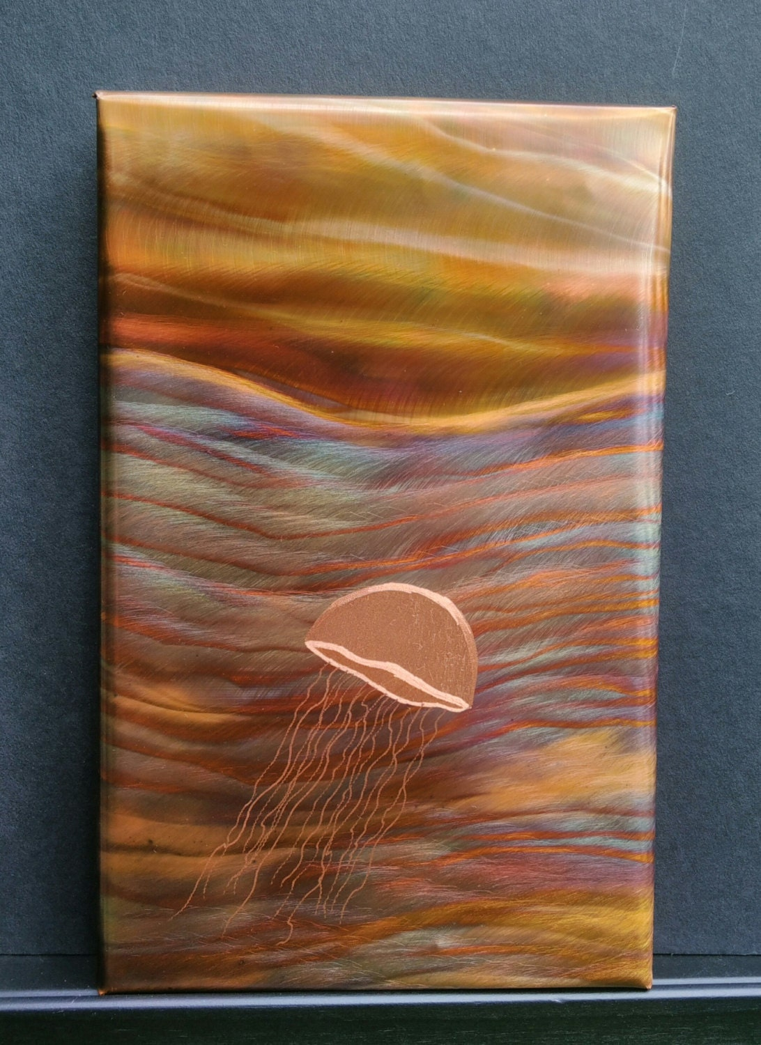 Copper wall art flame painted copper adventurous for Copper wall art