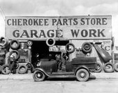 Cherokee Parts Store, 1936. Vintage Photo Digital Download. Black and White Photograph. Garage, Mechanic, Automobiles, 1930s, Historical.