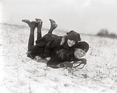 Girls Sledding, 1915. Vintage Photo Digital Download. Black & White Photograph. Winter, Snow, Sled, Outdoors, Sports, Children, Friends.