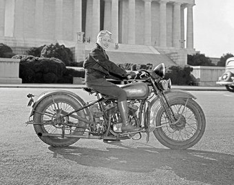 Girl with Harley Motorcycle, 1937. Vintage Photo Digital Download. Black & White Photograph. Harley-Davidson, Biker, 1930s, 30s, Historical.