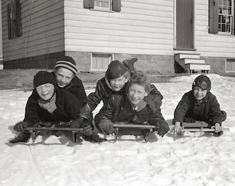 Boys Sledding, 1936. Vintage Photo Digital Download. Black & White Photograph. Winter, Snow, Storm, Nature, Sled, 1930s, 30s, Historical.