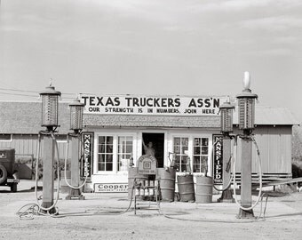 Texas Truck Stop, 1939. Vintage Photo Digital Download. Black & White Photograph. Gas Station, Cars, Truckers, 1930s, 30s, Historical.