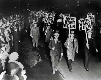 We Want Beer! Prohibition Protest, 1931. Vintage Photo Reproduction Print. 8x10 Black & White Photograph. 1930s, 30s, Historical.