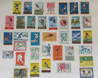 Mixed lot of 30+ Cold War / Soviet / Eastern Bloc Design Matchbox Labels - Sporting Themes