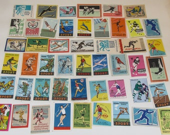 Mixed lot of 50 Cold War / Soviet / Eastern Bloc Design Matchbox Labels - Sporting Themes