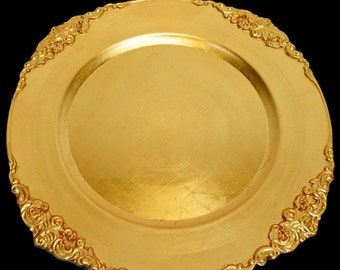 Royal Trim Heavy Duty Charger Plate in Gold or Silver, Charger Plates For Weddings, Anniversary and Other Celebrations