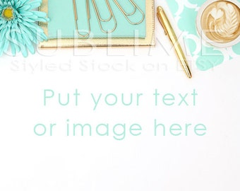Styled Stock Photography / Blog Photo / Background Stock Photo / Styled Desktop / Mock up / Header Image / Mint and Gold / StockStyle-555