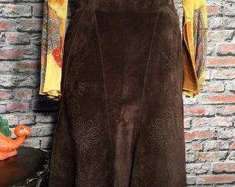 Vintage Chocolate Suede Leather Embroidered Womens Skirt  Size 8