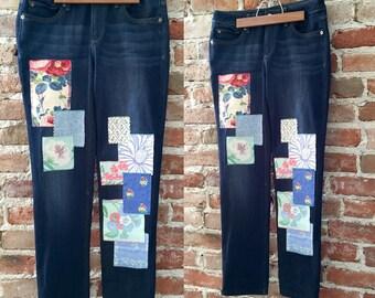 DL 1961 Hand stitched Preppy Patchwork Jeans, Flirty & Feminine, Size 28