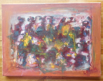 "Original abstract oil painting by Nalan Laluk: ""March of the Flowers"""