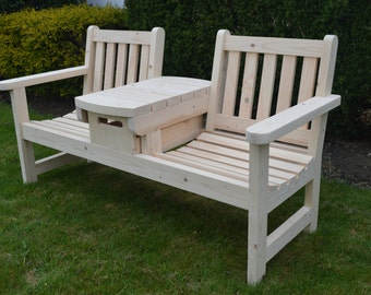 English Twin Seater Bench With Table And Wood Crate Drawer / Patio Furniture  / Tailgate Bench