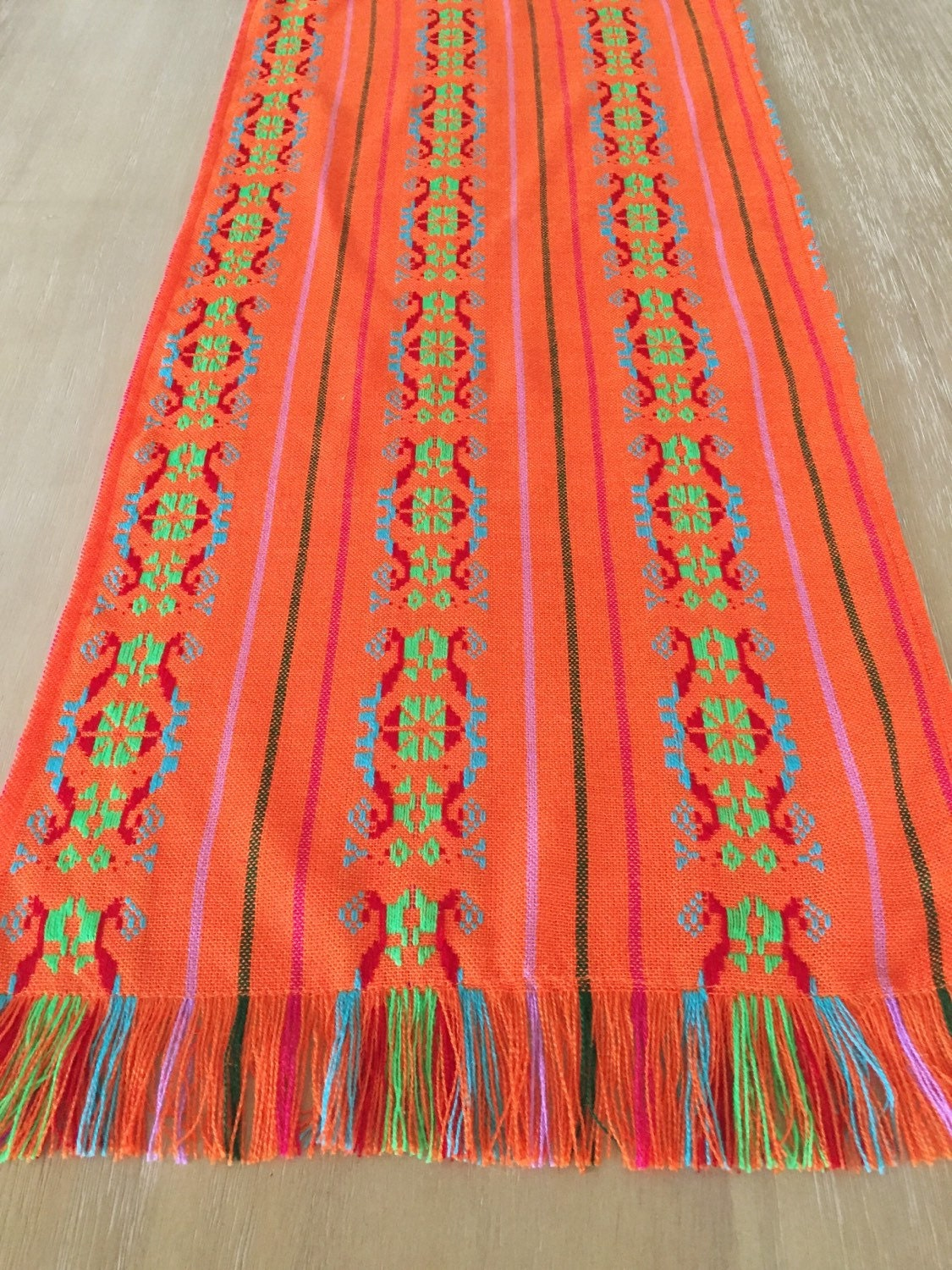 Mexican tablecloth runner or napkins medallion orange boho