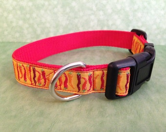 Fall Chili Peppers Dog Collar