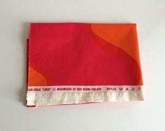 MARIMEKKO Fabric 'Lokki' 1961 Suomi-Finland | Orange Red Pink | 1.5 yards