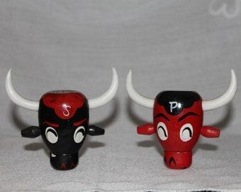 Wooden Bull Head Salt and Pepper Shakers