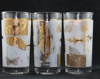 Mid Centrury Frosted Butterfly Glasses set of 5