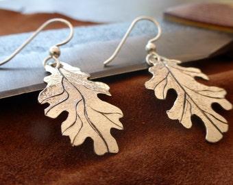 Sterling Silver Oak Leaf Earrings Hand Engraved