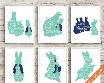 Peter Rabbit-The Tale of Peter Rabbit Quotes - Set of 6 Art Print (Unframed) (Featured in Sea Foam and Navy) Peter Pan Prints