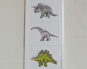 dinosaur prints set of 3, A5 or A4 size, dinosaur art, stegosaurus, triceratops and brachiosaurus, green, pastel blue, purple, kids room art