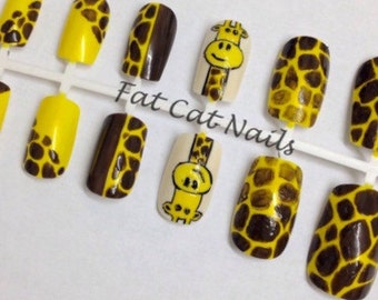 Giraffe Print False Nails, African Stick on Nails, Yellow Fake Nails, Animal Print Artificial Nails,  Safari Nail Art, African Dress