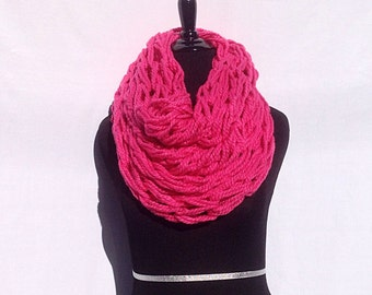 Chunky Infinity Scarf in Bright Pink (arm knitting)