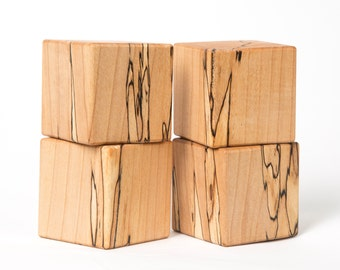 "Spalted Maple baby blocks. Solid Spalted Maple blocks approximately 2"" x 2"" 4 blocks"