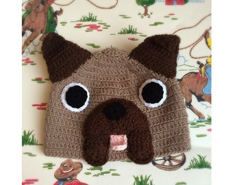 Crocheted pug hat! Fun little hat for all ages, made to order in soft wool. Photography prop.
