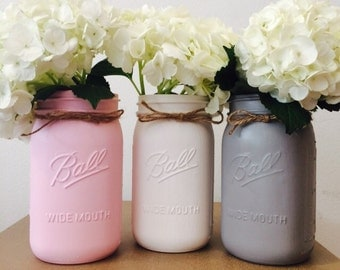 Pink, white and gray set of 3 hand painted mason jars
