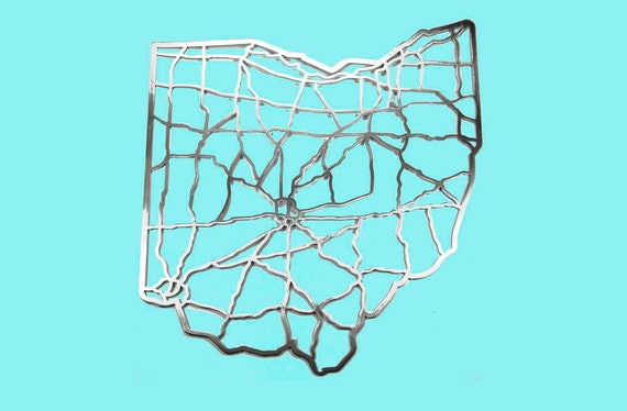 Ohio Map cut out of steel