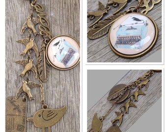 Metal & Glass 'Letters Of Love', Bird On Typewriter Bronze Keyring Keychain