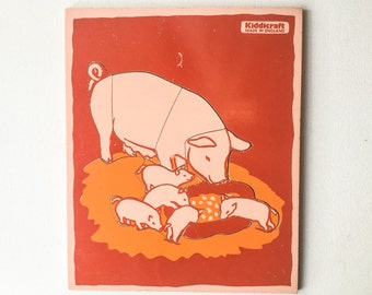 Rare Vintage Pig Puzzle, Wooden 8 Piece Lift Out Play Tray Jigsaw, Orange and Pink, Made by Kiddicraft, England, 1970s / 1980s, 01268