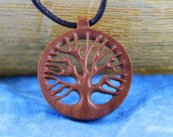 Hand Carved Yoga Tree Of Life Necklace - Wood necklace the Tree of Life - Wooden Necklace Hand crafted - Yoga Jewelry - Z19