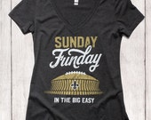 New Orleans Saints Football,  Sunday Funday in the Big Easy, Black & Gold Graphic Ladies Soft V-neck T-shirt
