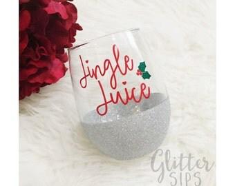 Jingle Juice Glitter Wine Glass // Stemless Wine Glass // Glitter Glass // Wine Glass // Glitter Dipped // Christmas Cup // Christmas Gift