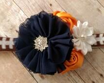 Denver Broncos headband, adjustable Broncos football inspired headband, Navy Blue Orange and white flower headband, nfl headband