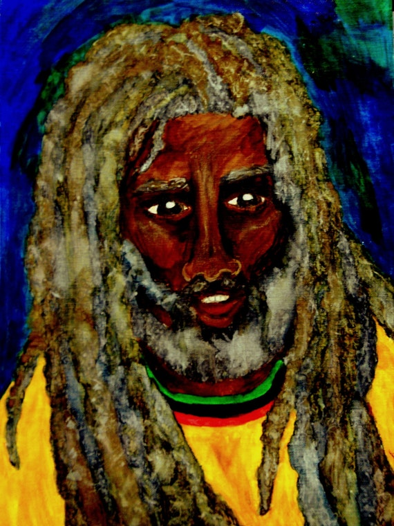 SALOMAO 2016, India Ink, Framed Watercolor & Oil Pastel Painting, Outsider Folk Art, by Stacey Torres Rasta Man dreadlocks portrait