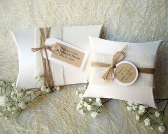 Wedding Favor Boxes Party Favor Boxes Pillow Boxes Burlap Box White Pillow Boxes Gift Boxes