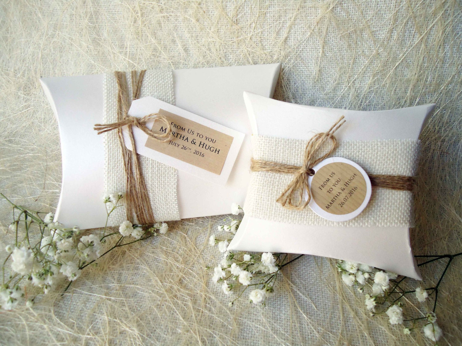 Wedding Gift Boxes: Wedding Favor Boxes Party Favor Boxes Pillow Boxes Burlap Box