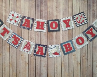 Nautical Baby Shower Banner,  Ahoy It's A Boy Shower Banner, Nautical Banner, Nautical Party Decoration, Ahoy It's A Boy Shower Decoration