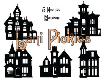 5 Haunted Mansion Houses Silhouettes, DIY Wall or Window Decal or Clip Art,  Layered Vector, Cut, and High Resolution Image Files