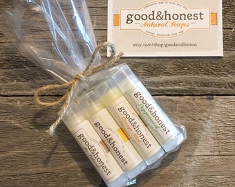 Lip  Balm Gift Set! - Lip Balm Sampler 4-Pack, Handmade Lip Balm: good&honest Lemon, Orange Mint, Peppermint and Au Naturel Lip Balm
