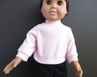 Handmade 18 inch doll clothes, Pink long sleeved knit shirt for 18 in dolls. Girl doll shirt