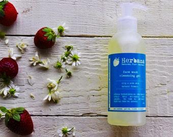 Facial Wash Gel, Oily and Acne Skin, Facial Cleanser, Natural Formula, Vegan Wash, Sebum Control, Organic liquid soap by Herbana Cosmetics