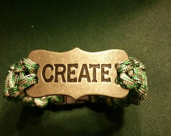 Quote Paracord Bracelet, CREATE, Celctic Green, White and Silver Multicolor Paracord Bracelet