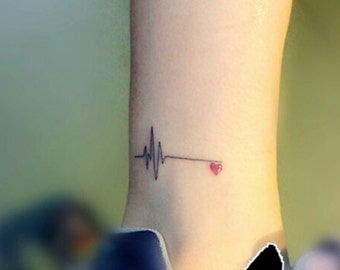 temporary tattoo red heart heartbeat electrocardiogram